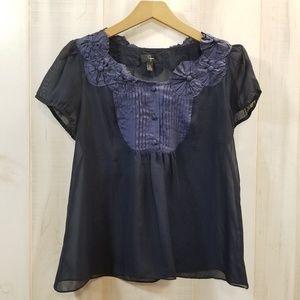 Aqua Navy Blue Short Sleeve Blouse Applique M